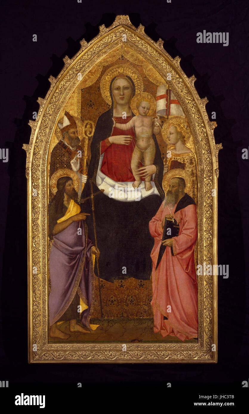 Nardo di Cione - Madonna and Child Enthroned with Saints Zenobius, John the Baptist, Reparata and John the Evangelist - Stock Image