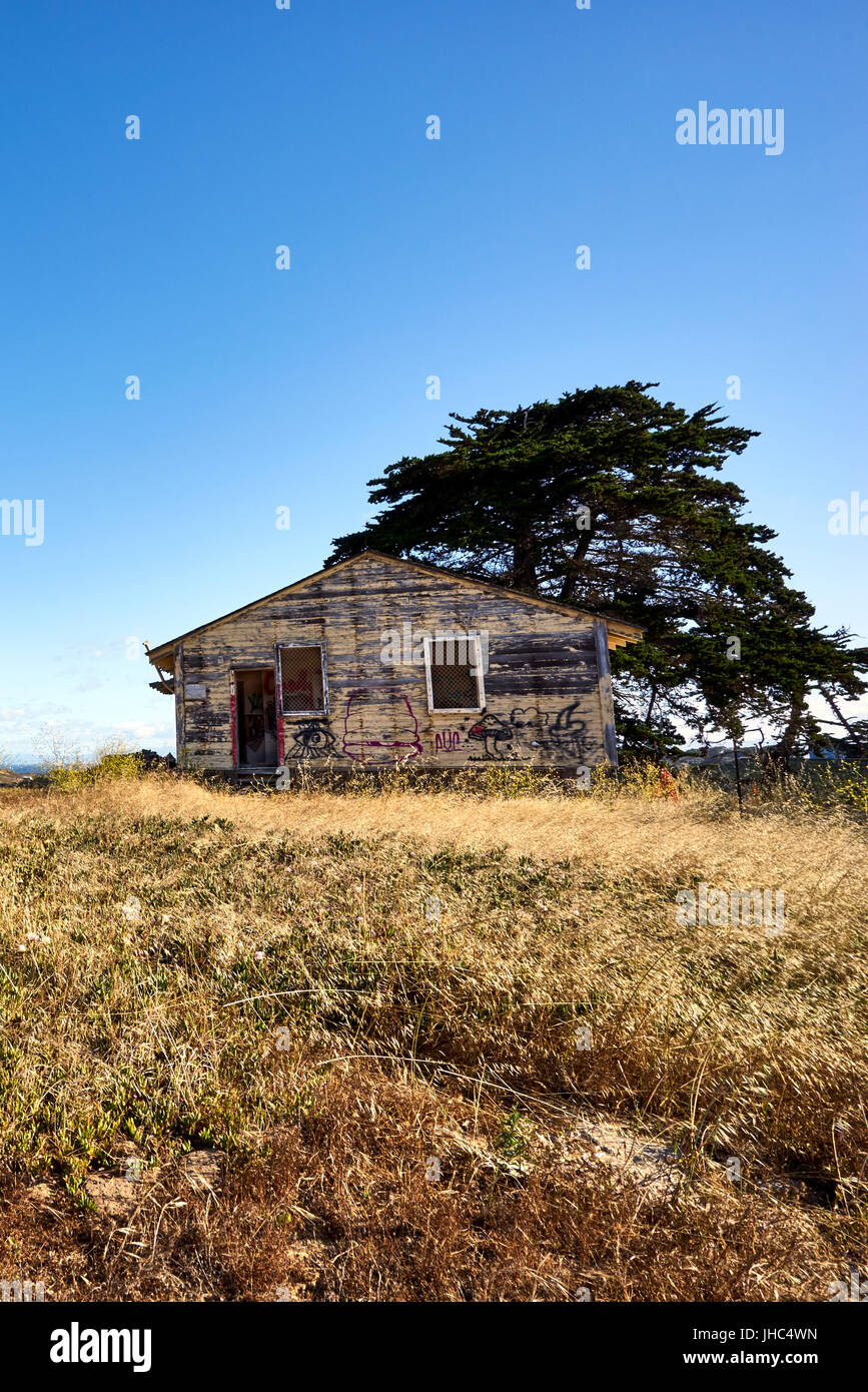 lone abandoned vacant house with tree against blue skies - Stock Image