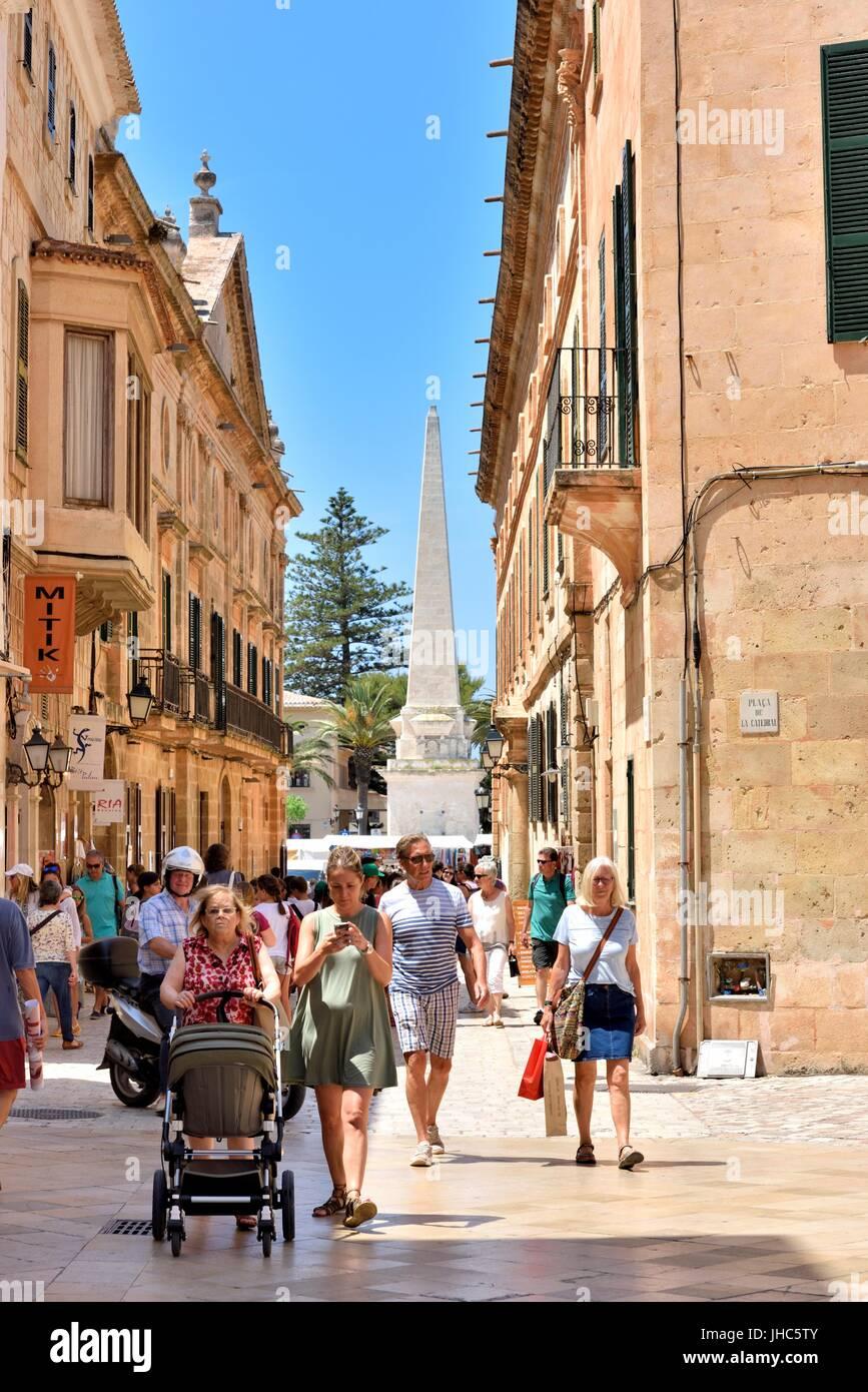 Ciutadella street scene menorca minorca - Stock Image
