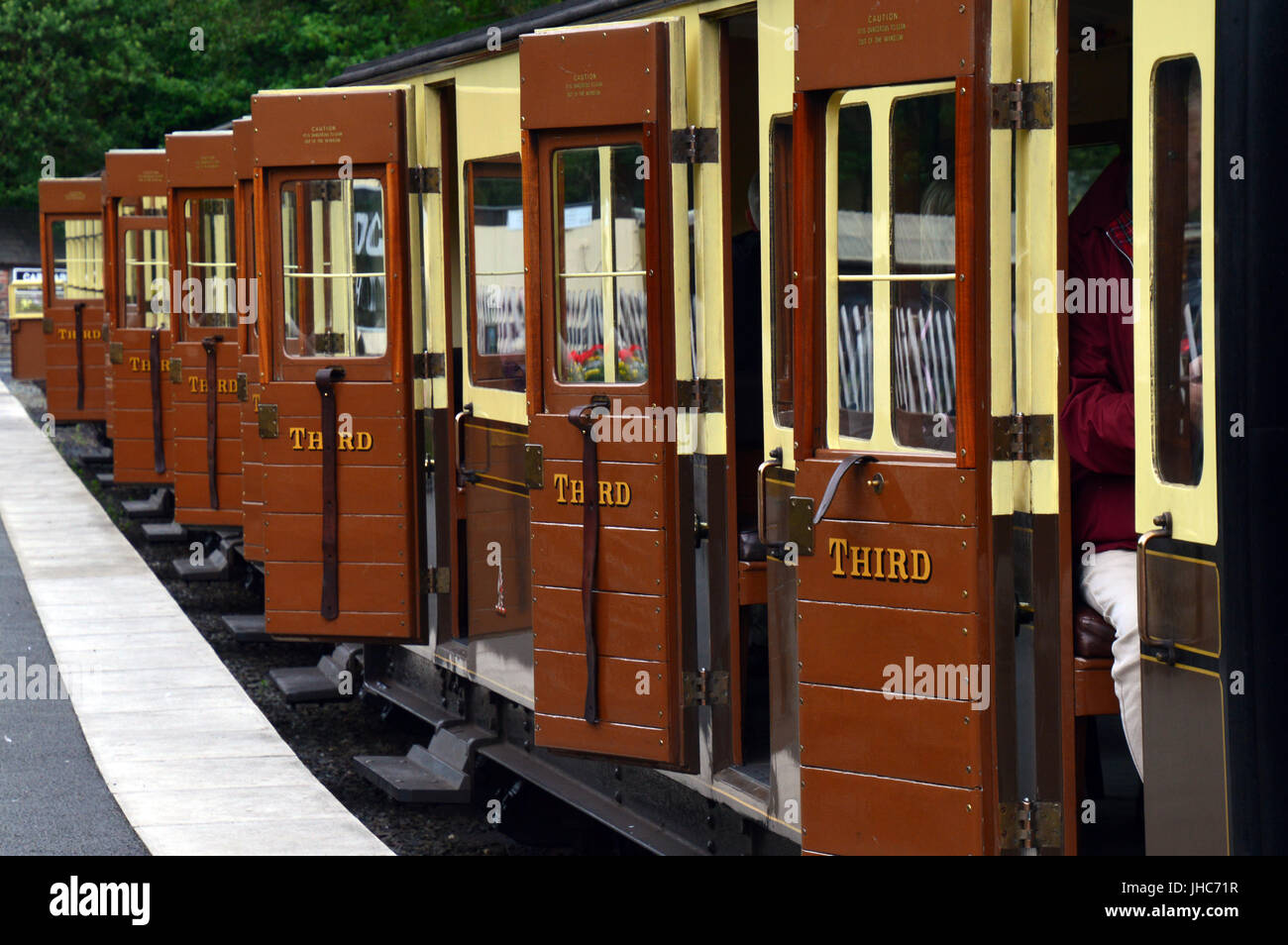Third Class carriages on platform at Devil's Bridge Station, Vale of Rheidol Railway, near Abertsywyth, Ceredigion, - Stock Image