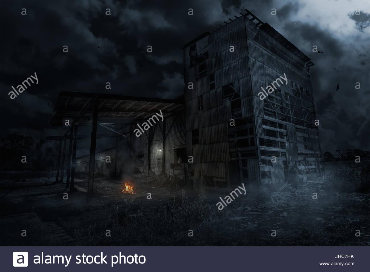 Abandoned factory night