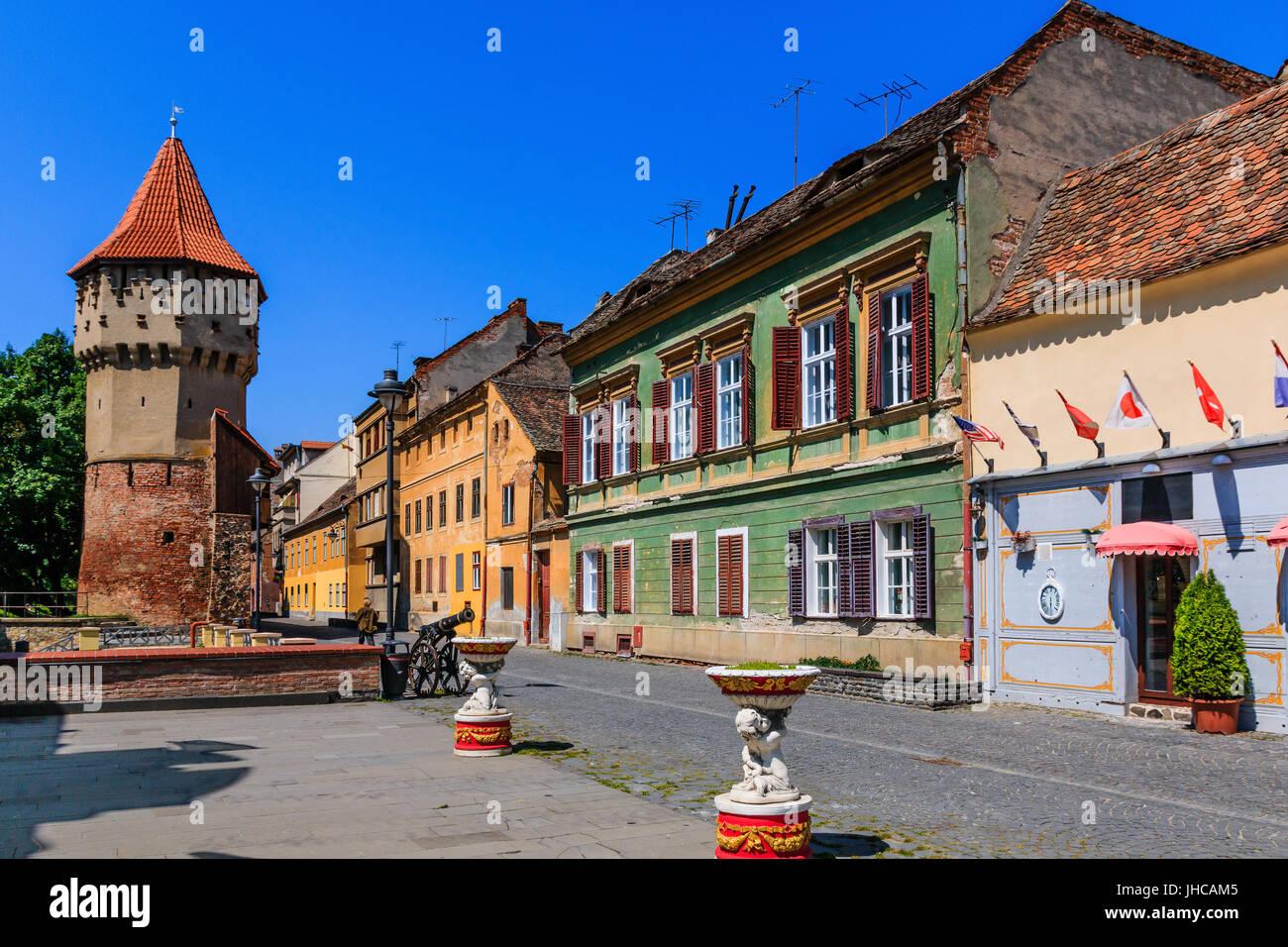 Sibiu,Romania.Fortress and tower of Turnul Dulgherilor. - Stock Image