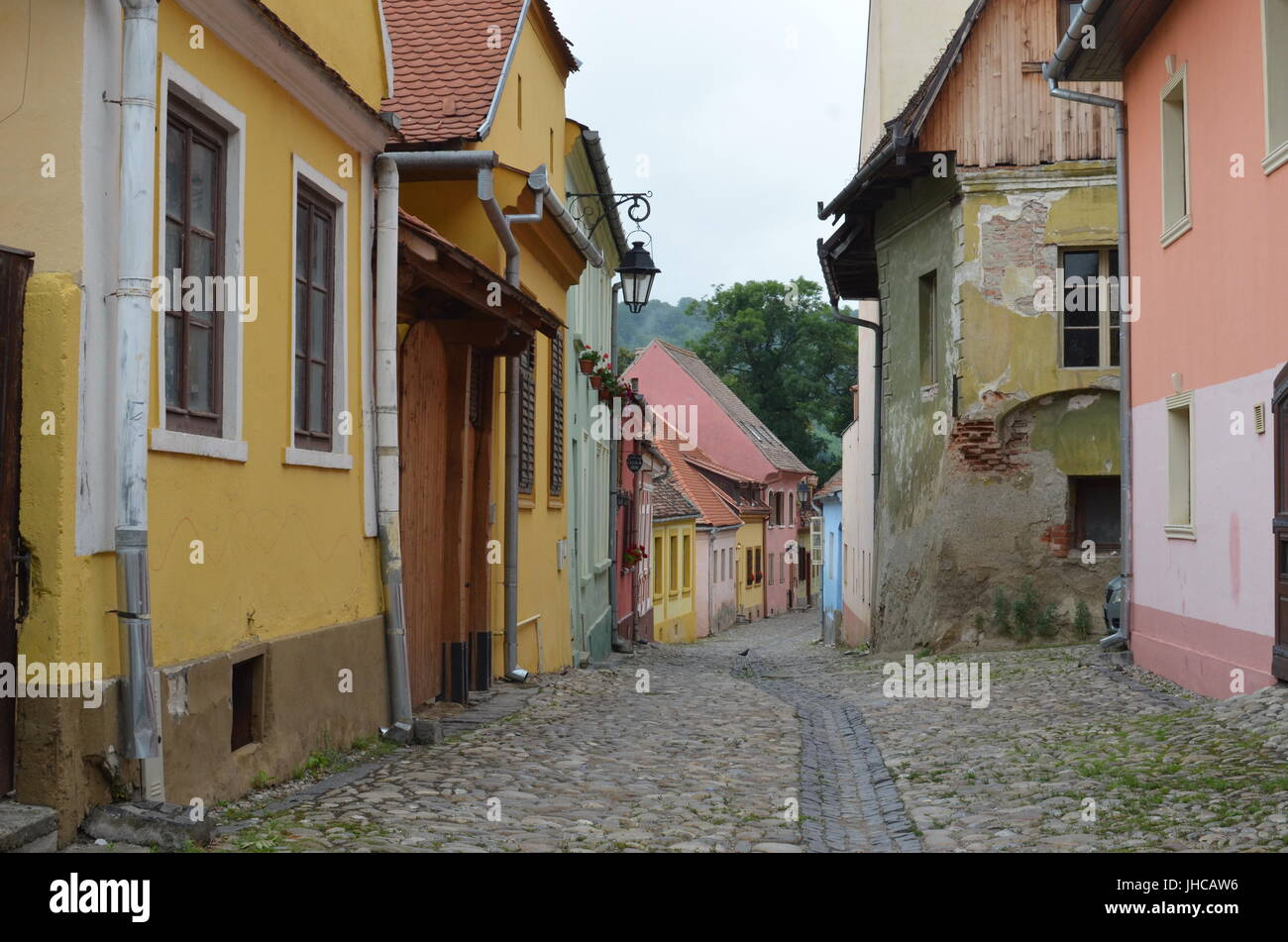 Streets of Sighisoara, Transylvania - one of the best-preserved medieval towns in Europe - Stock Image