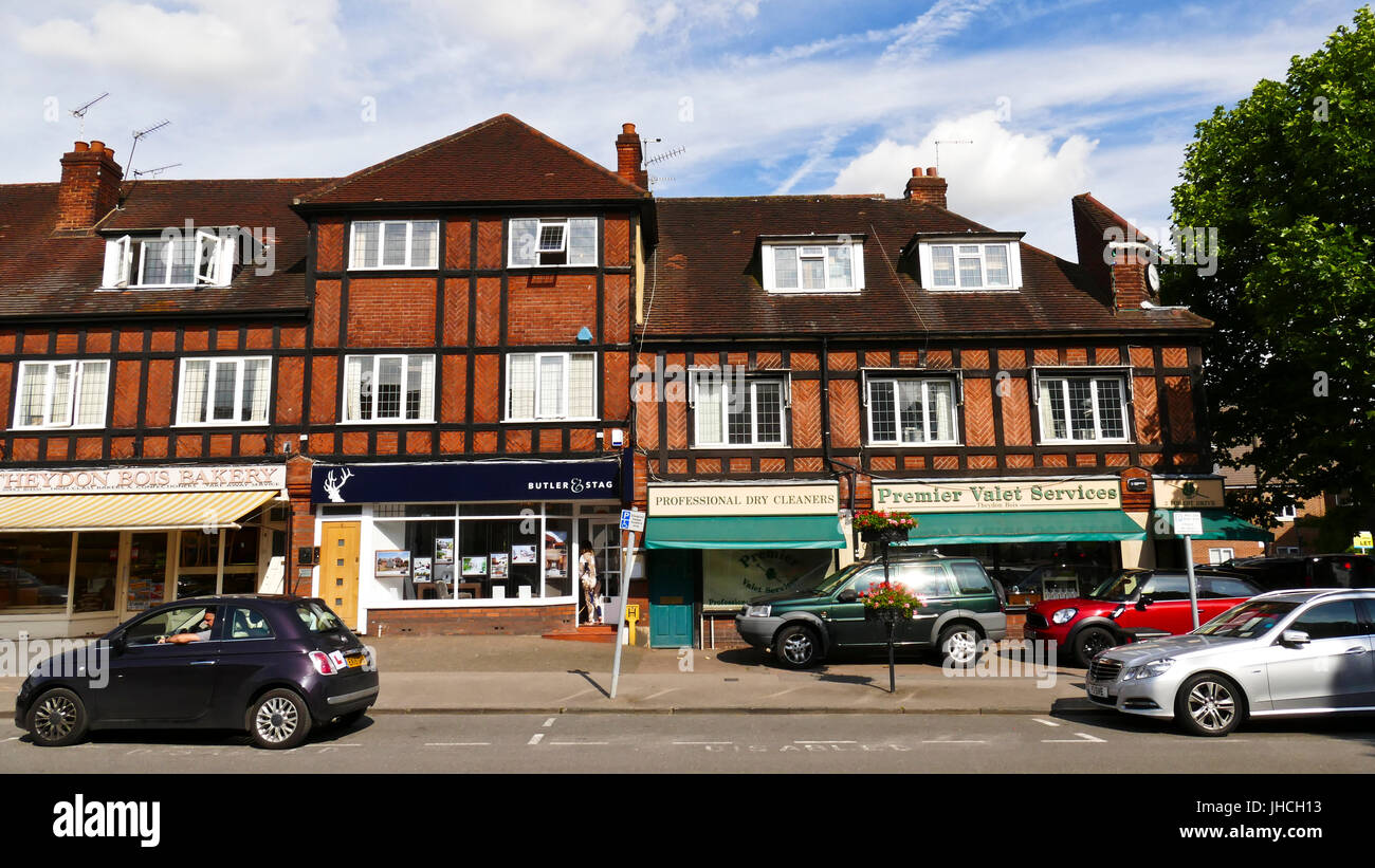 Parade of shops in the village of Theydon Bois, Essex - Stock Image