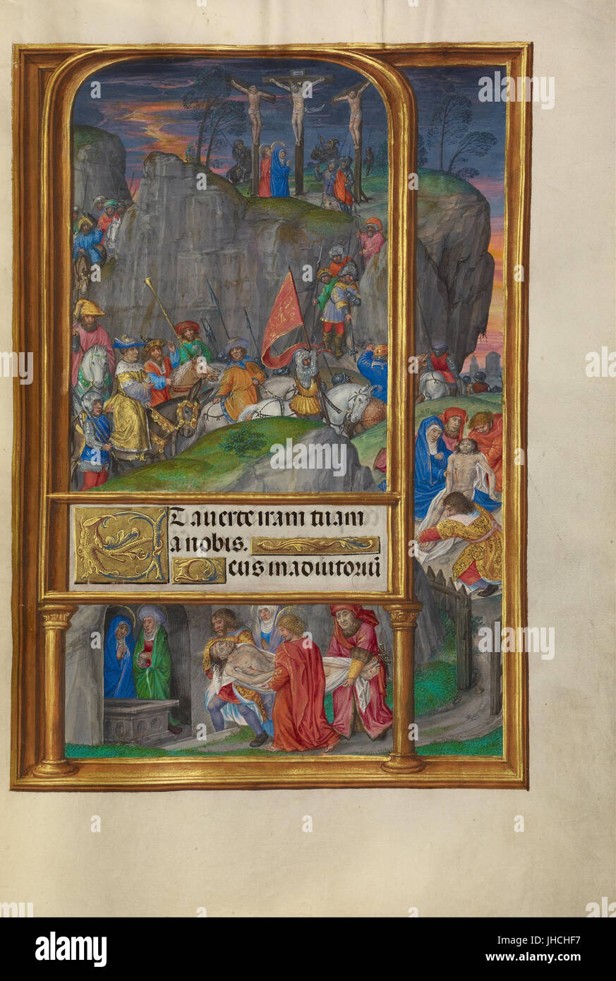 Master of James IV of Scotland (Flemish, before 1465 - about 1541) - The Crucifixion - - Stock Image