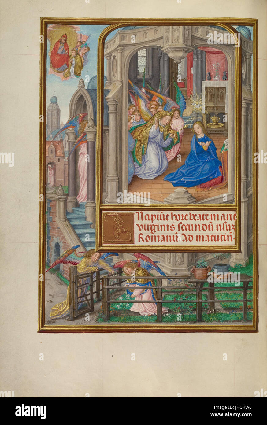 Master of James IV of Scotland (Flemish, before 1465 - about 1541) - The Annunciation - - Stock Image