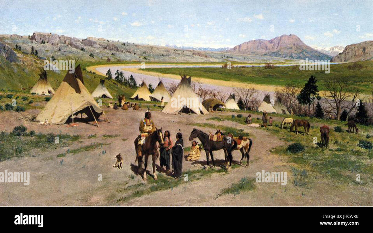 Henry F. Farny - In the Foothills of the Rockies - Stock Image