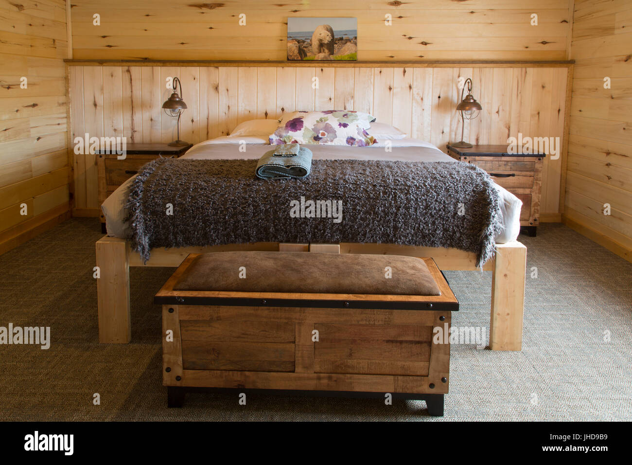 Guest room at Seal River Heritage Lodge in Manitoba, Canada. The luxury lodge is one of the eco lodges National - Stock Image