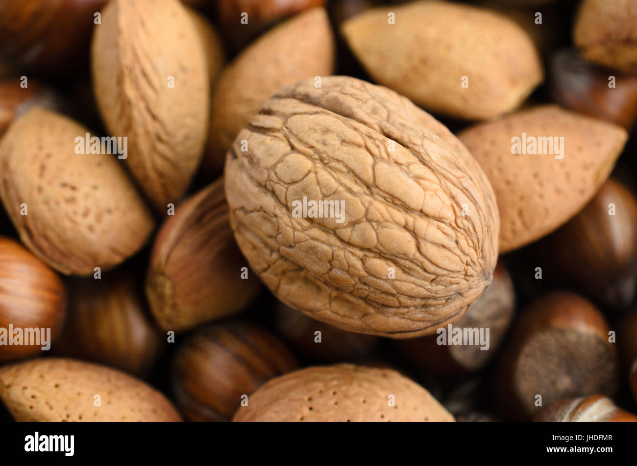 Overhead shot of a selection of whole, mixed nuts in  shells.  Main focus on walnut, with almonds and chestnuts - Stock Image