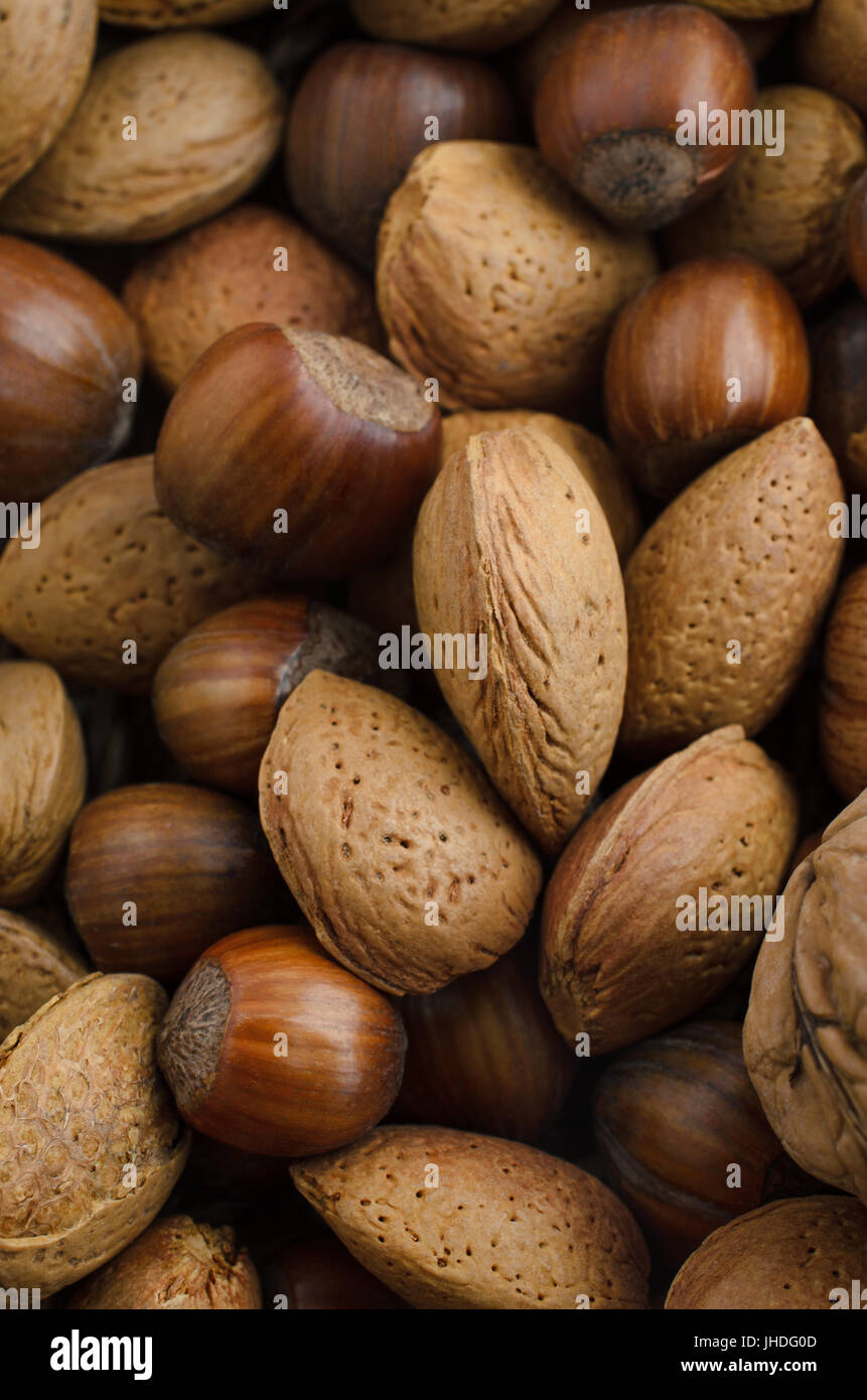 Overhead view of a selection of mixed nuts in their shells. Includes almonds, chestnuts and walnut. - Stock Image