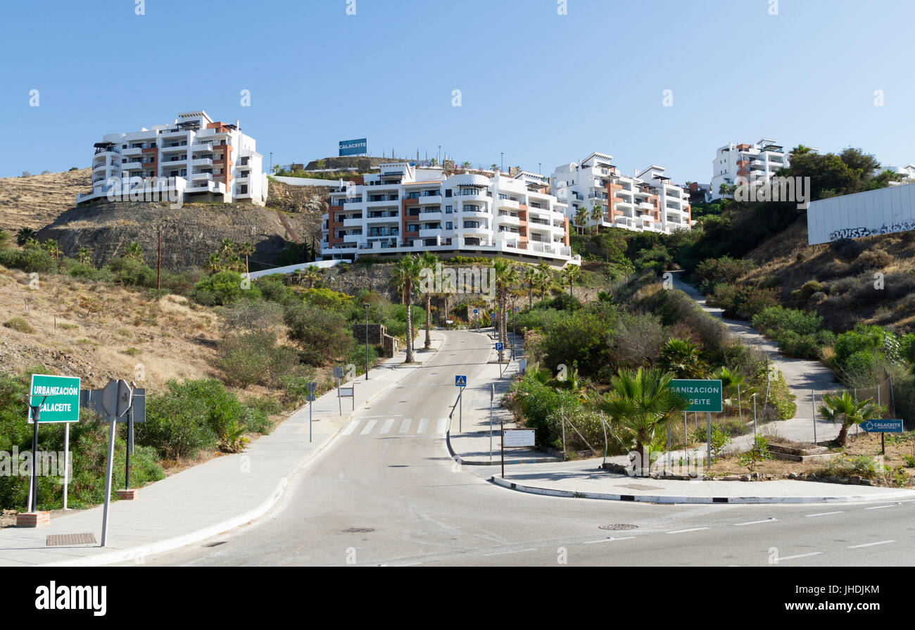 The small coastal urbanisation of Calaceite on the Costa Del Sol Spain - Stock Image