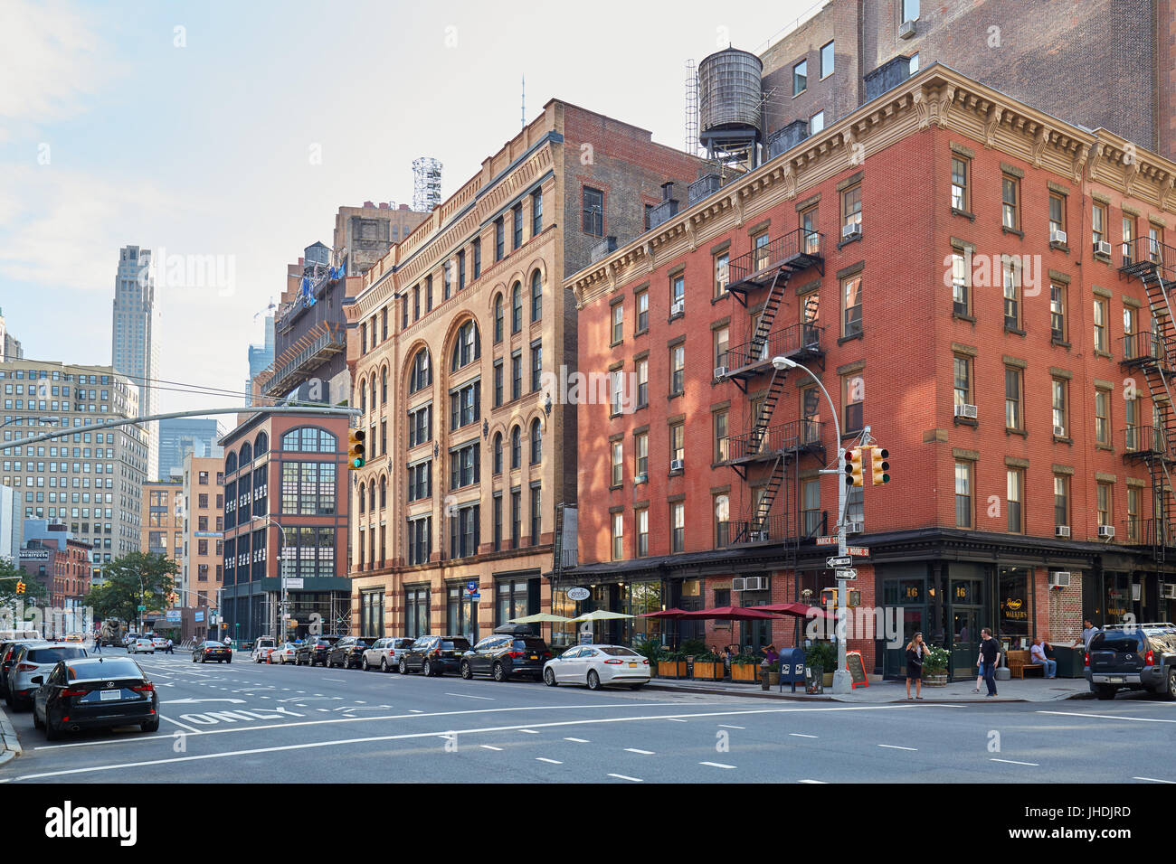 Tribeca district empty streets in a sunny summer day in New York Stock Photo
