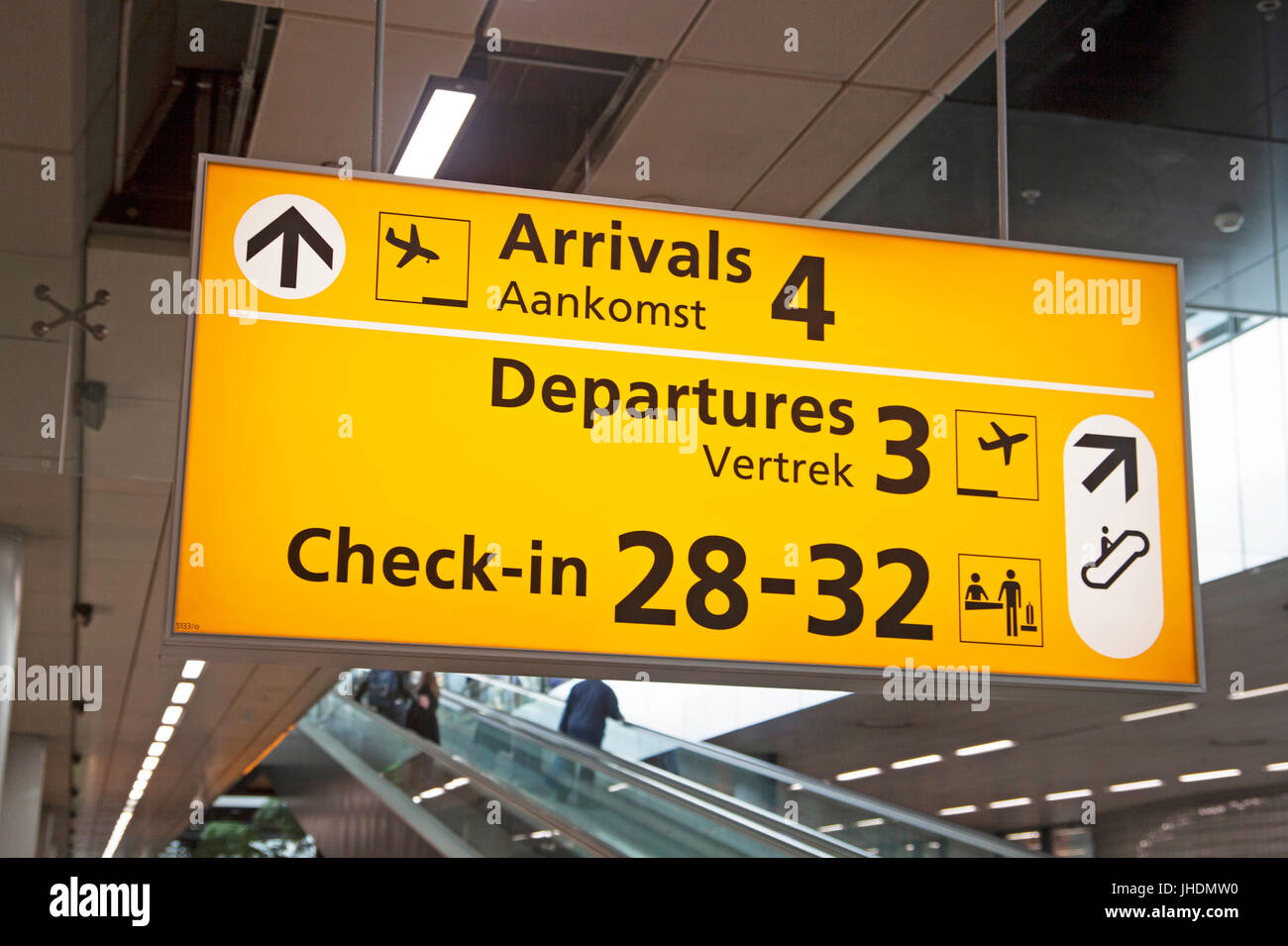 Electric aviation information board for passengers at the airport. Arrivals, checkin and departures. - Stock Image