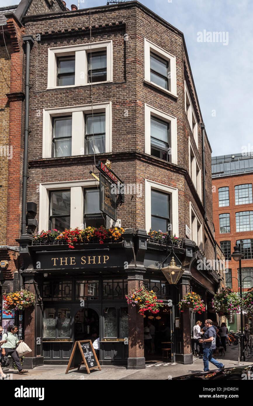 The Ship, a small public house in Wardour Street, Soho, central London. - Stock Image