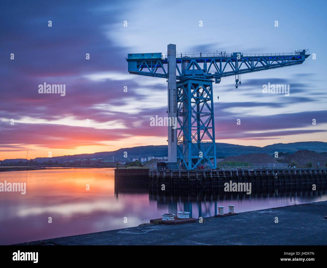 Titan crane sunset - Clydebank - Stock Image