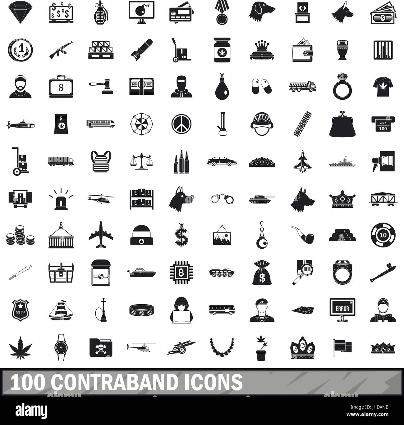 100 contraband icons set, simple style  - Stock Image