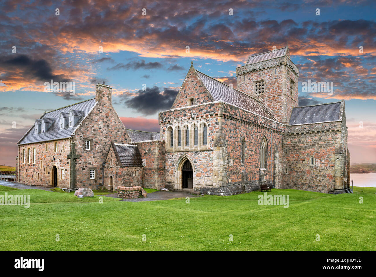 Iona Abbey, Isle of Iona, Argyll and Bute, Scotland, UK - Stock Image