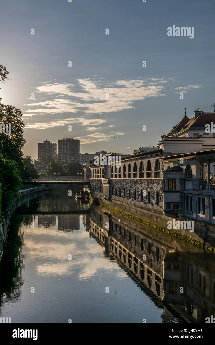 Empty Ljubljana on Sunday morning - Stock Image