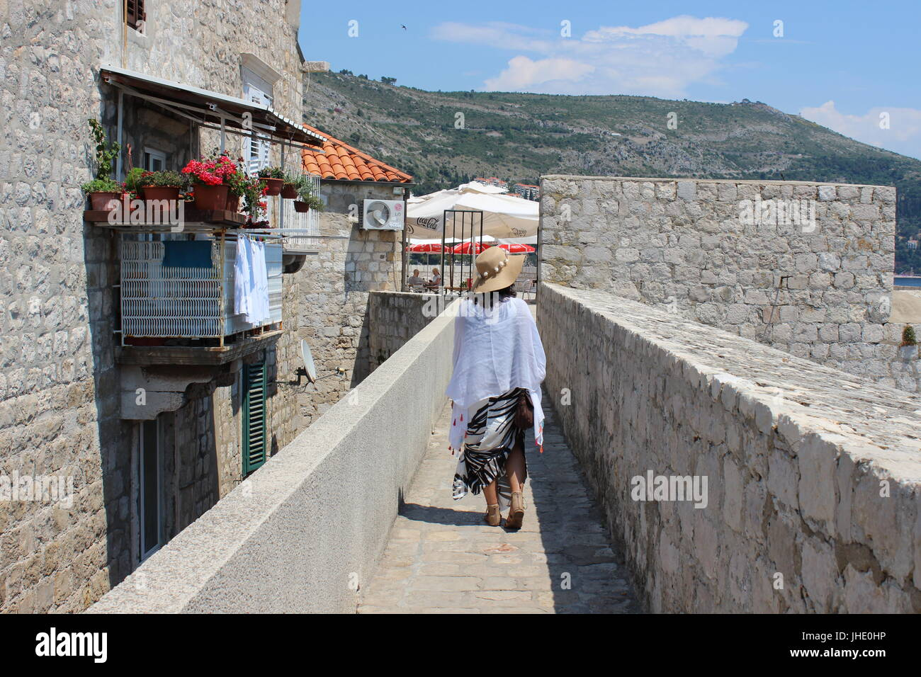 Me walking down the city walls of Dubrovnik - Stock Image