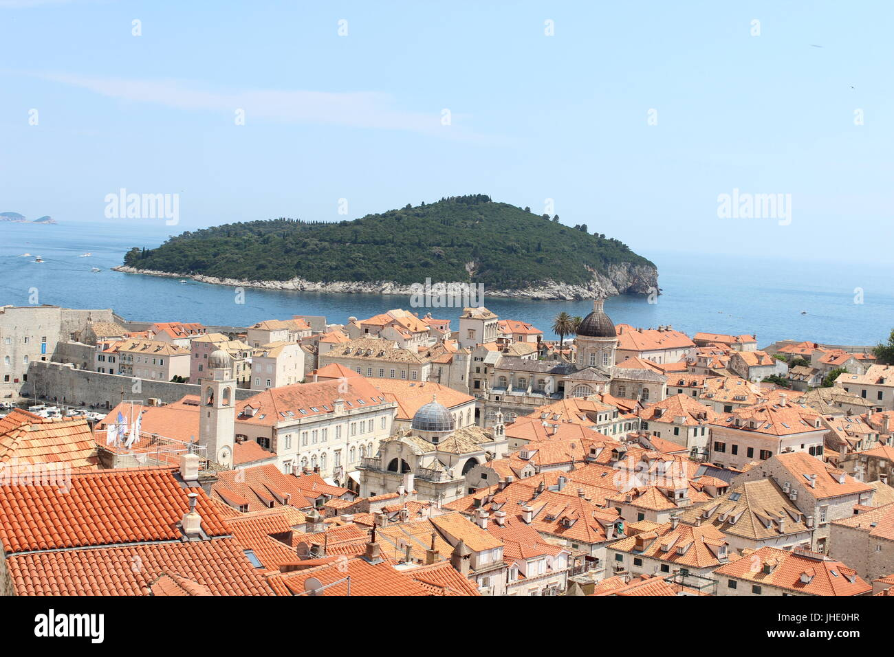 A beautiful city view of Dubrovnik from city walls - Stock Image