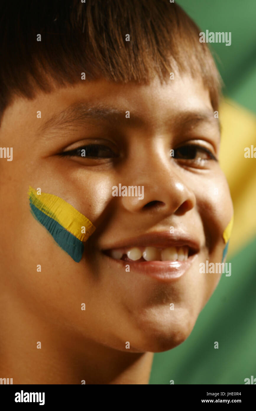 Child, Flag, Belém, Pará, Brazil - Stock Image
