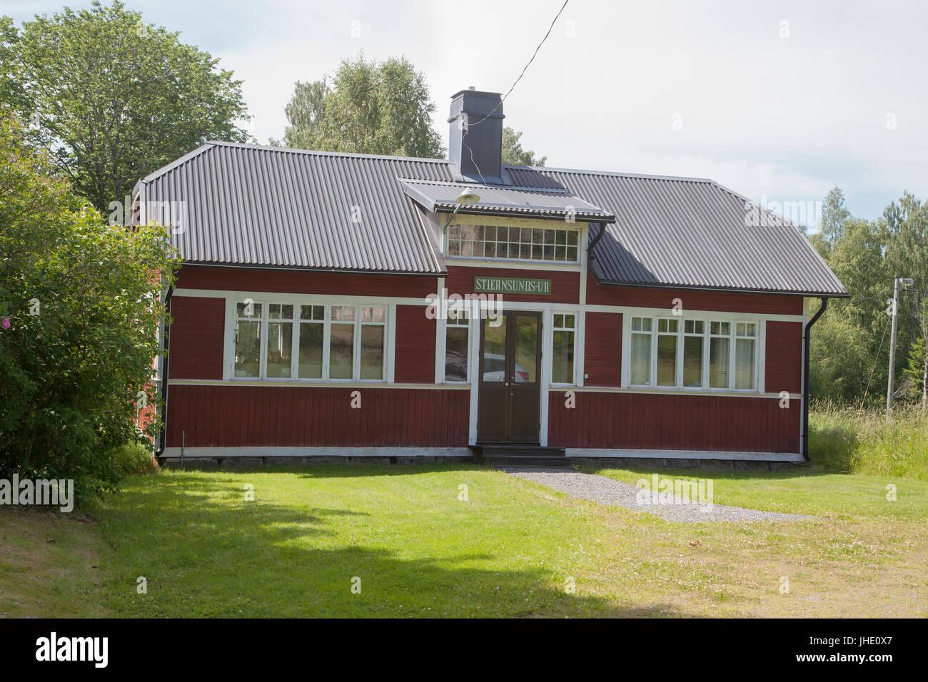 STJÄRNSUND bruk in Dalarna 2017 workshop building where the Stjärnsunds clocks has been produced since - Stock Image