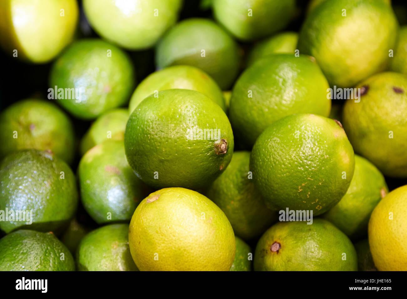 fresh limes - Stock Image