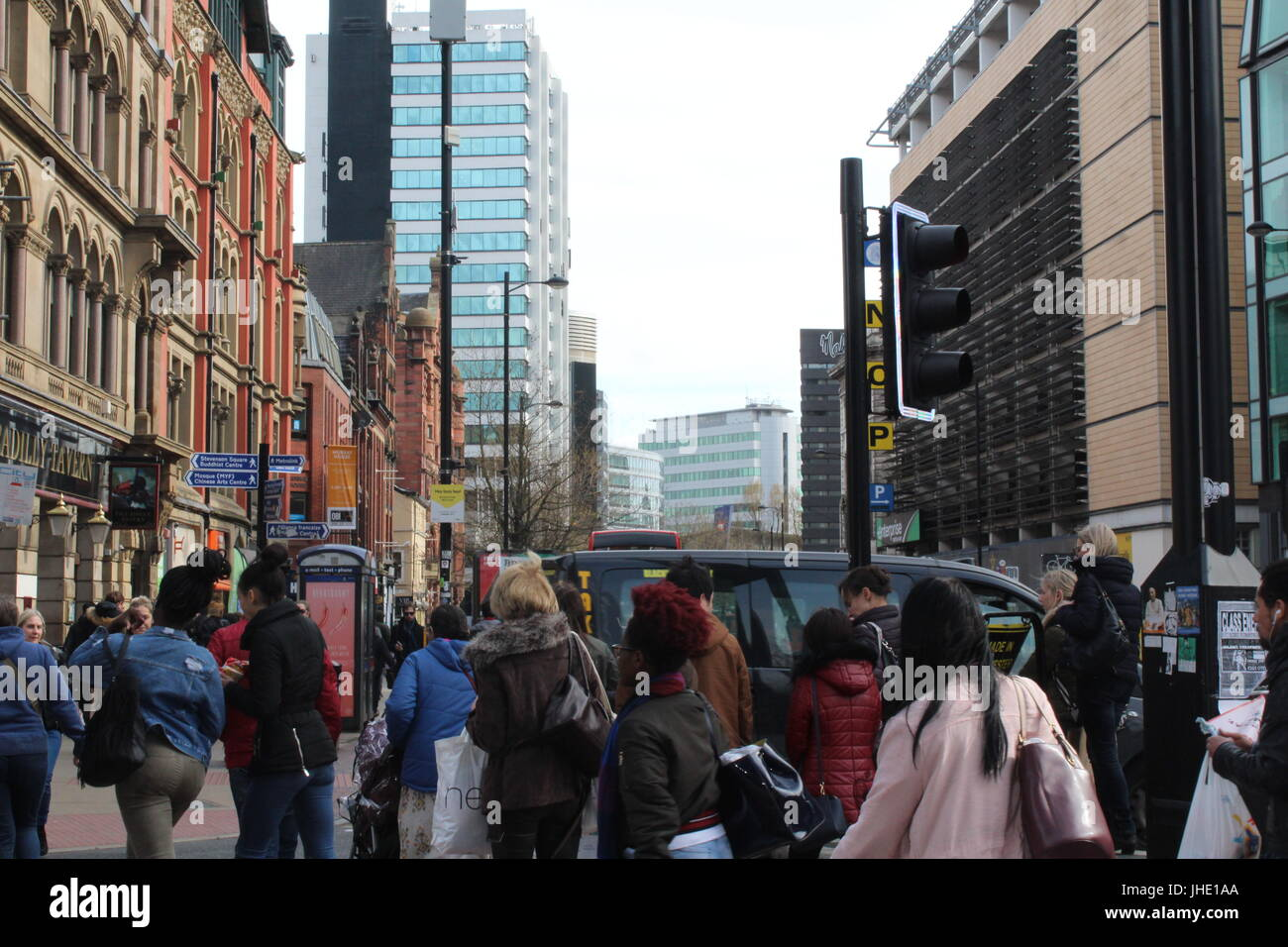 Crowded Street in Manchester City Centre, April 2017 - Stock Image