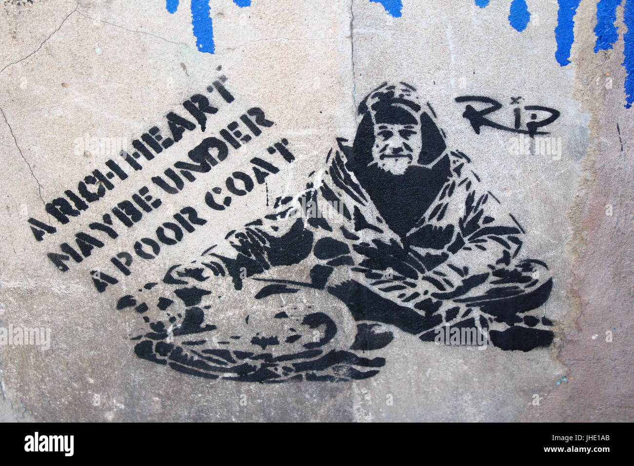 A Rich Heart May be Under a Poor Coat Graffiti Manchester, 2017 - Stock Image