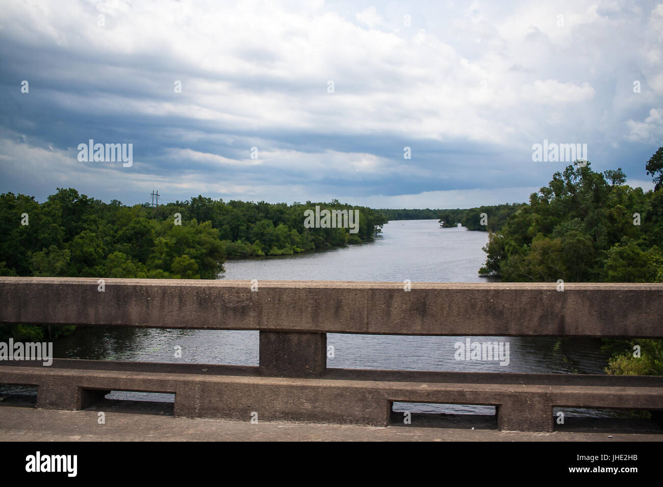 View from the Atchafalaya Basin Bridge, also known as Louisiana Airborne Memorial Bridge, the third longest bridge - Stock Image