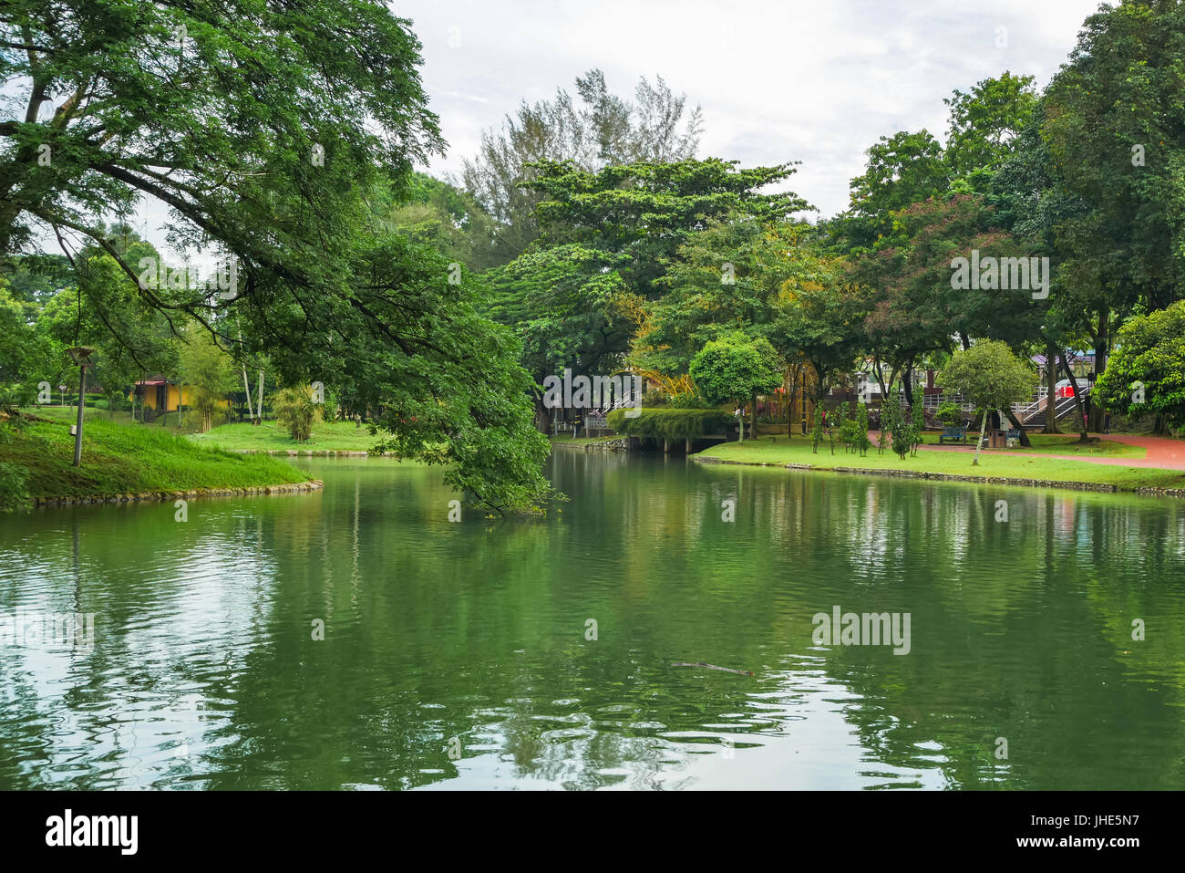 Permaisuri Lake Garden is one of the famous park in Cheras, there is a pathway for people to jogging and exercise - Stock Image