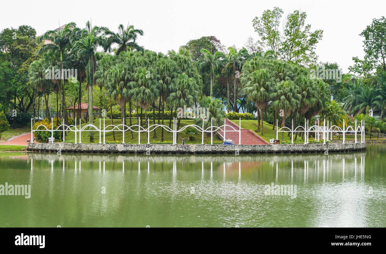 Cheras,Malaysia - June 27,2017 : Permaisuri Lake Garden is one of the famous park in Cheras, there is a pathway - Stock Image