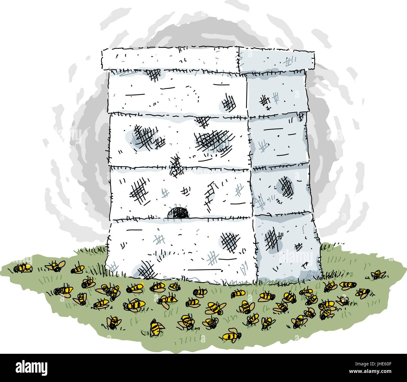 A beehive box surrounded by dead bees suffering from colony collapse. - Stock Vector