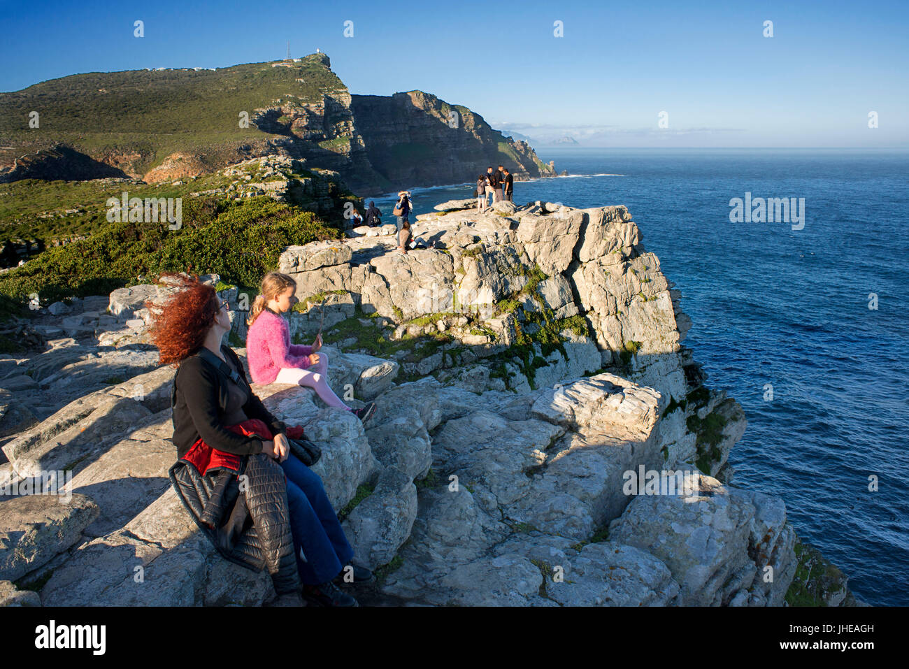 Viewpoint in Cape of Good Hope in sunset, South Africa, Western Cape, Cape of Good Hope National Park - Stock Image