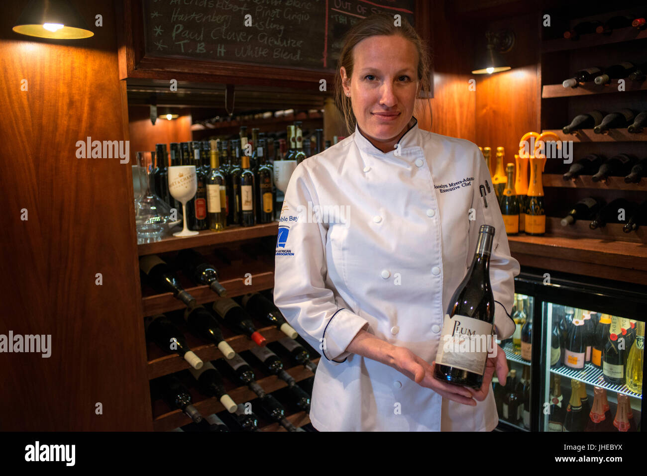 Jocelyn Myers-Adams Executive Chef at the Table Bay Hotel. Cellar of the Camissa Brasserie Restaurant, Victoria - Stock Image