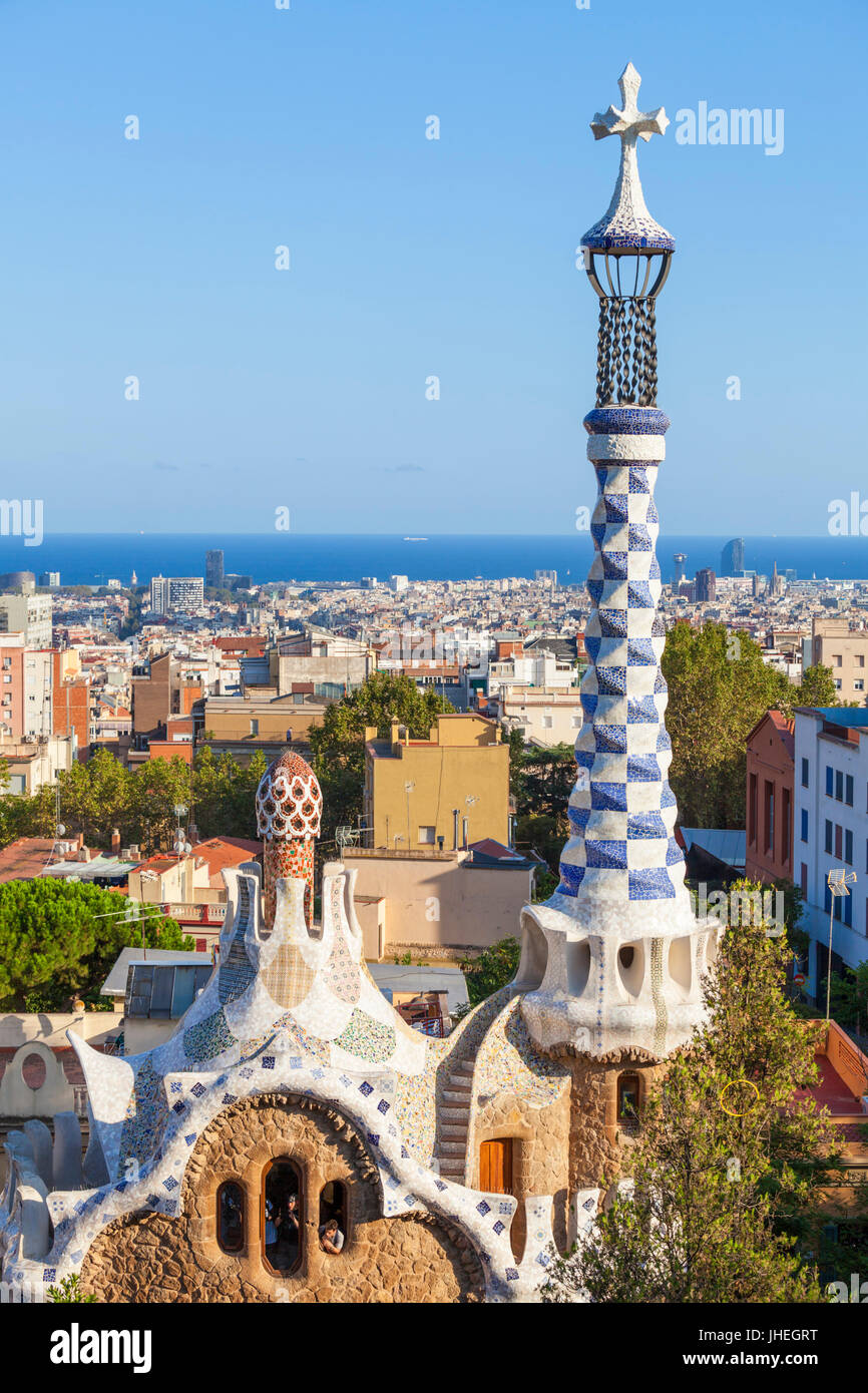 Barcelona Catalunya Park Guell barcelona parc guell barcelona porters lodge casa del guarda Barcelona skyline spain - Stock Image