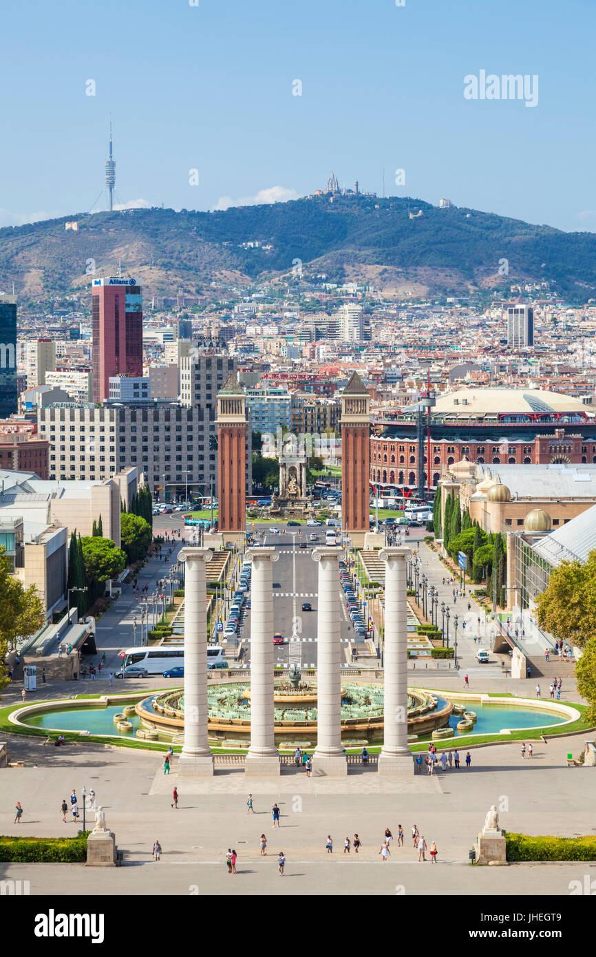 Barcelona Catalunya spain Barcelona Skyline Barcelona city with the magic fountains of Mont Juic Font Magica de - Stock Image