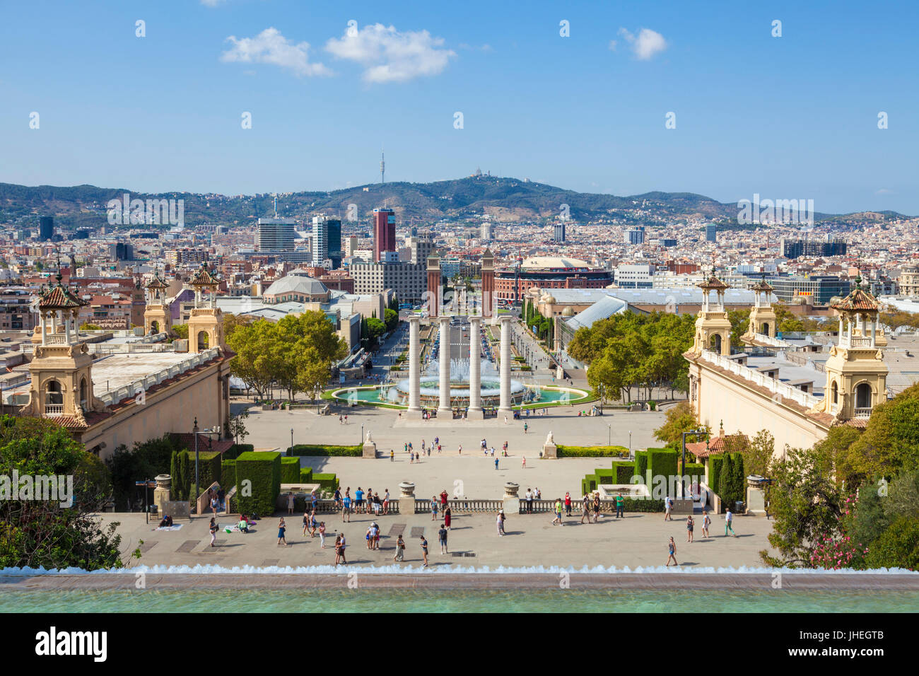 Barcelona Catalunya spain Barcelona Skyline Barcelona city with the magic fountains of Mont Juic Font Magica de - Stock Image