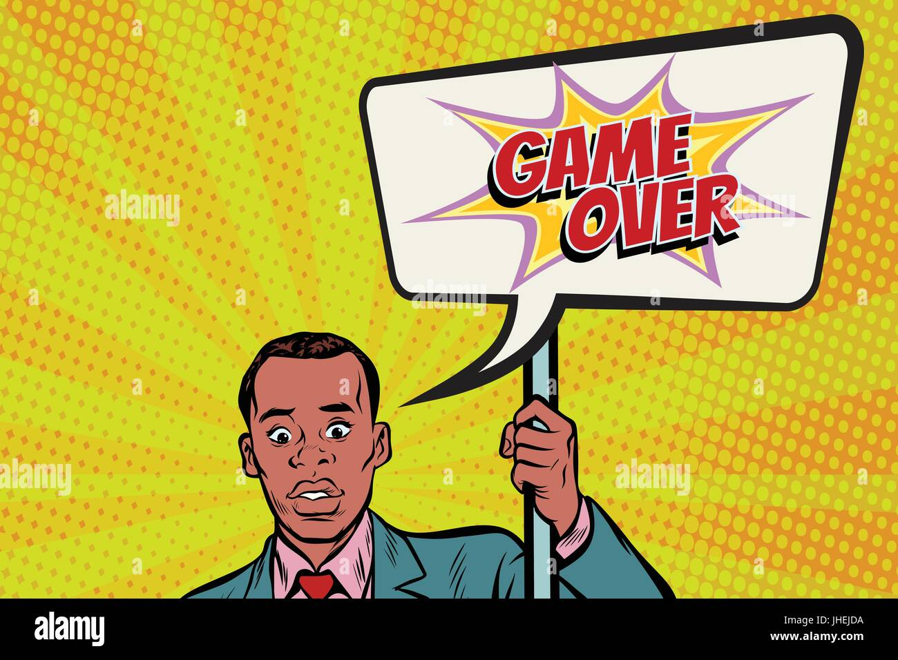 African protester businessman with a poster game over - Stock Vector