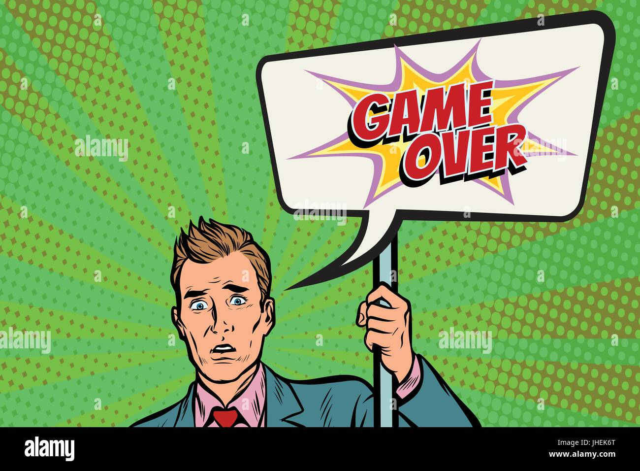 protester businessman with a poster game over - Stock Vector