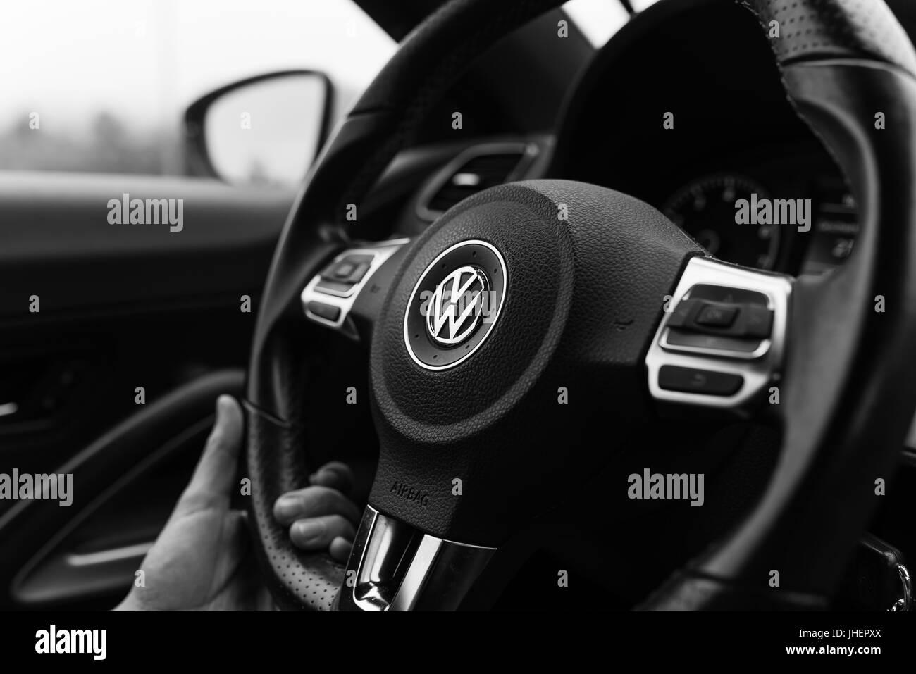 Bamberg, Germany: Circa November 2015 - Steering wheel of a VW Scirocco Stock Photo