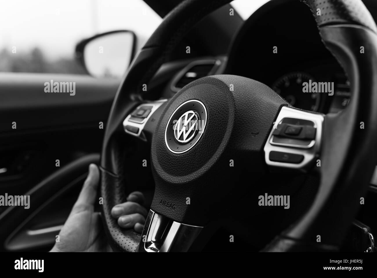 Bamberg, Germany: Circa November 2015 - Steering wheel of a VW Scirocco - Stock Image