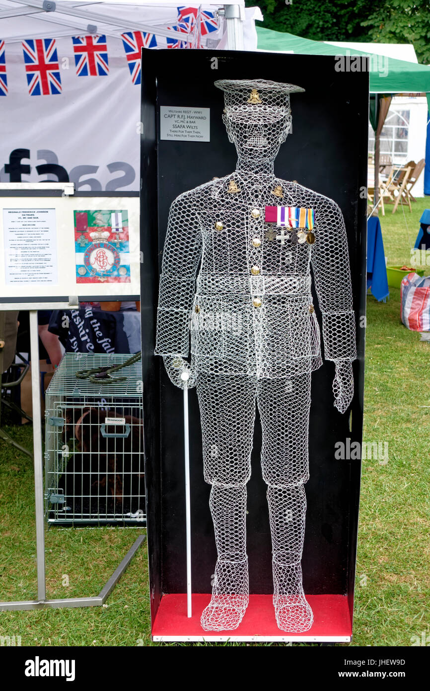 A life-size wire sculpture of  First World War Captain R.F.J Hayward (VC) 1st Battalion The Wiltshire Regiment at - Stock Image