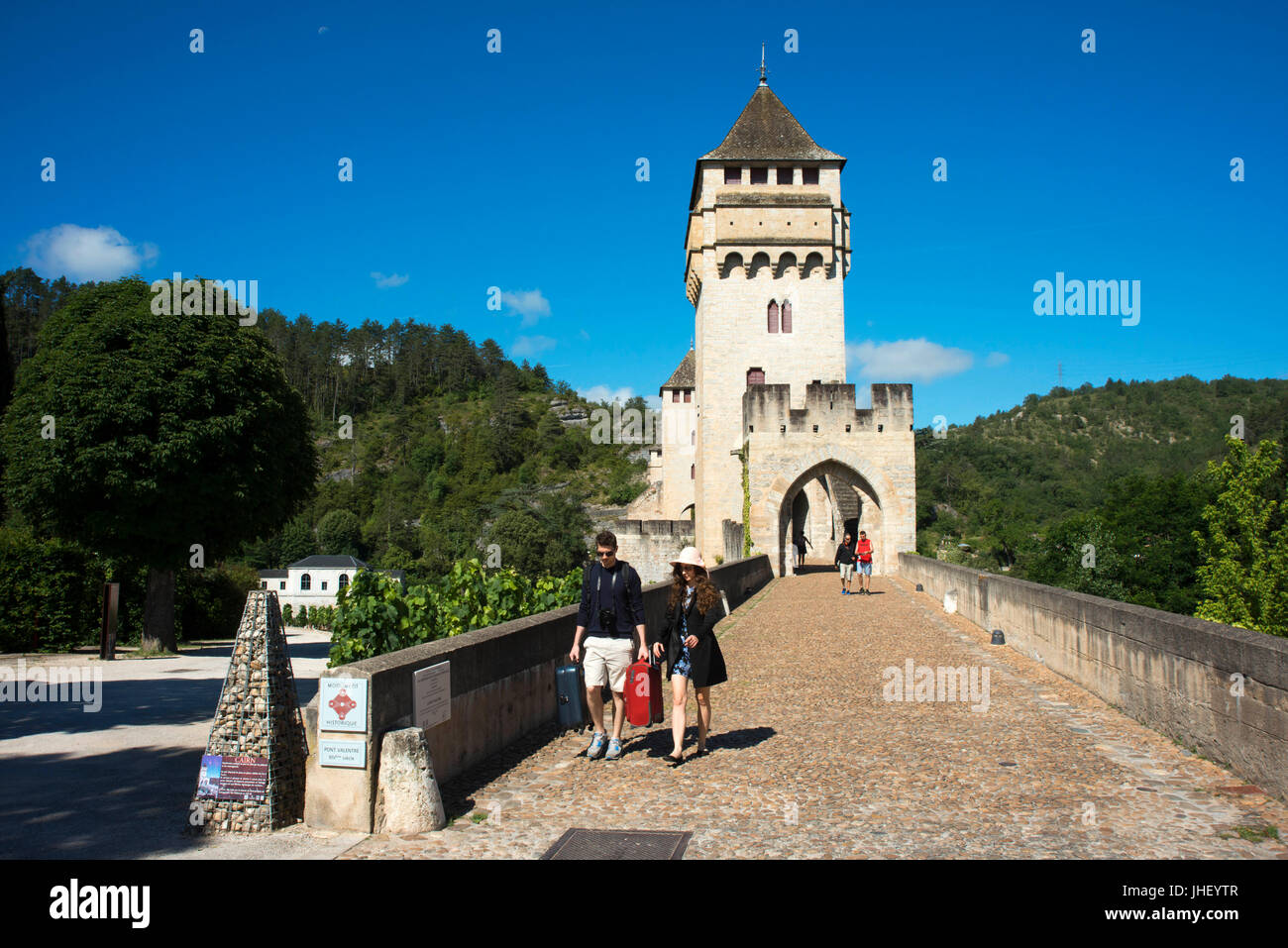 Over the medieval Pont Valentre over the River Lot, Cahors, The Lot, France Stock Photo