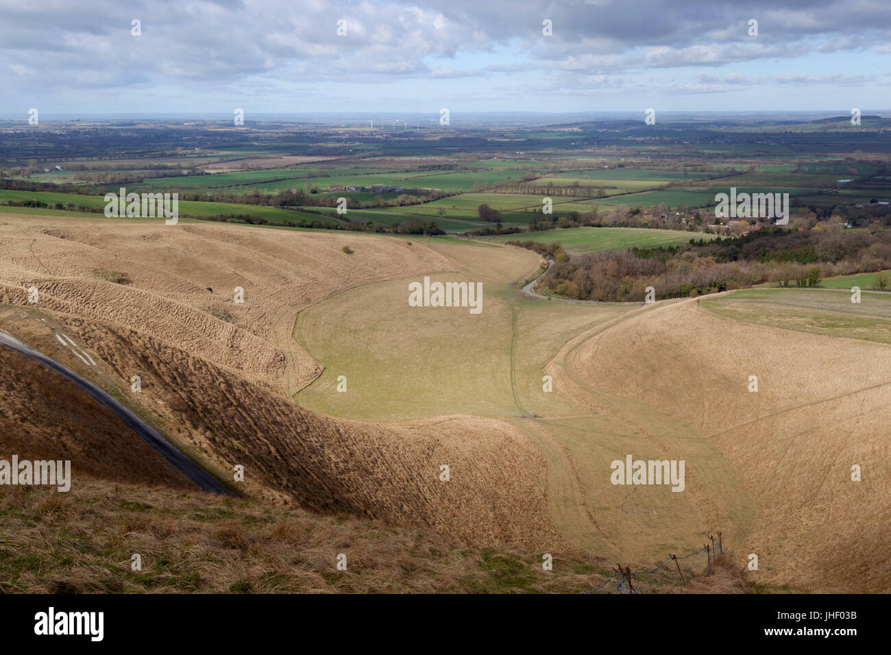 The Manger from Uffington Castle and Oxfordshire countryside, near Wantage, Oxfordshire, England, United Kingdom, - Stock Image