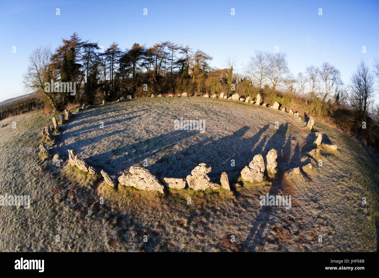 The King's Men stone circle in winter frost, The Rollright Stones, Chipping Norton, Cotswolds, Oxfordshire, - Stock Image