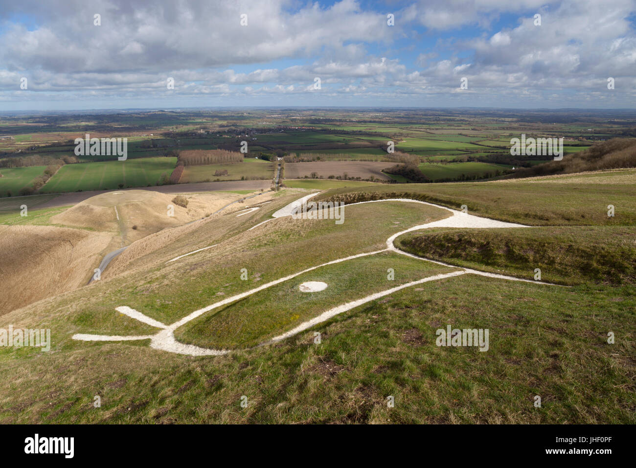 View over Uffington White Horse and Dragon Hill and Oxfordshire countryside, near Wantage, Oxfordshire, England, - Stock Image