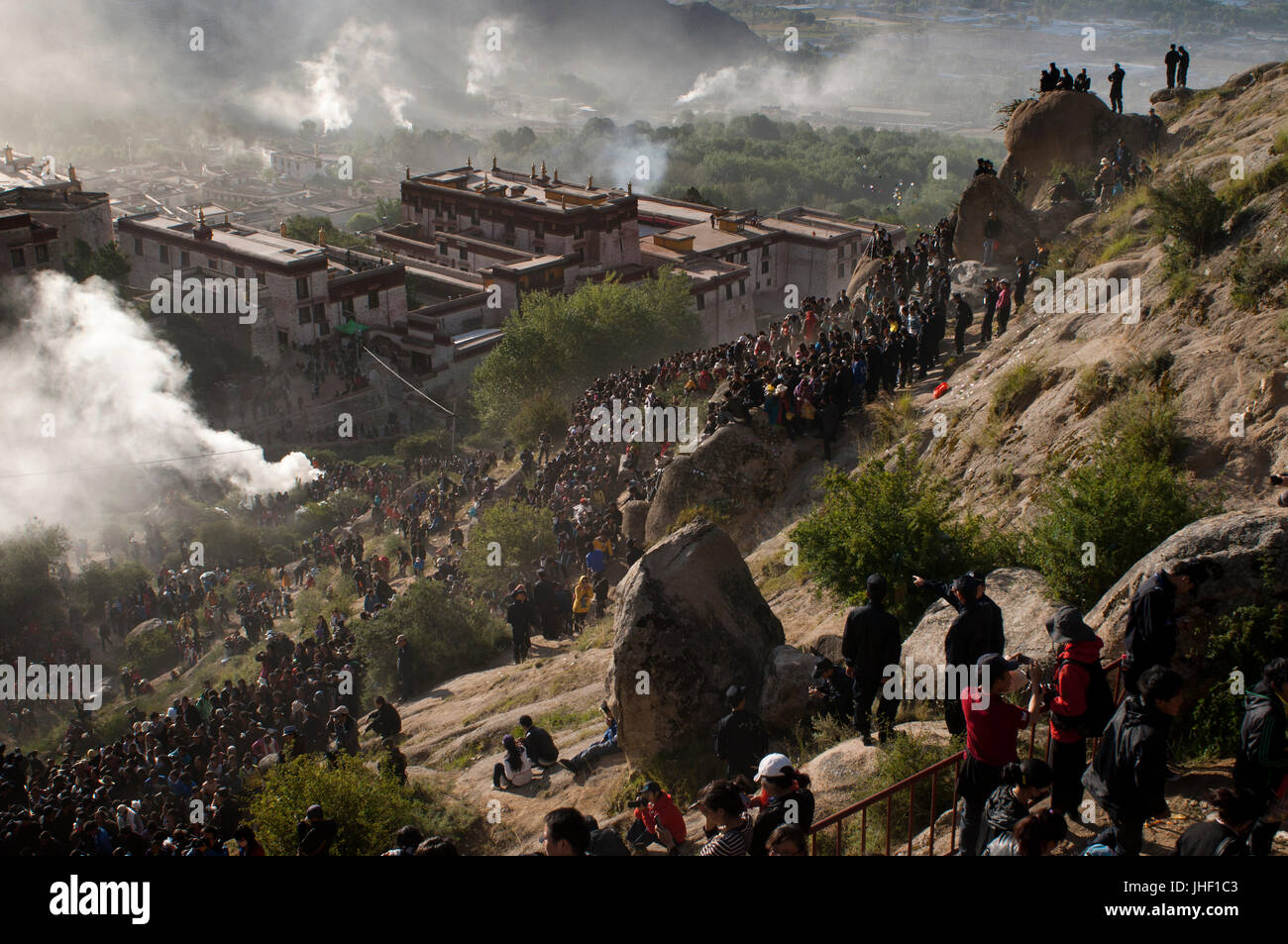 Around the Drepung monastery during the Yogurt Festival or also called Shoton Festival, Lhasa, Tibet. - Stock Image