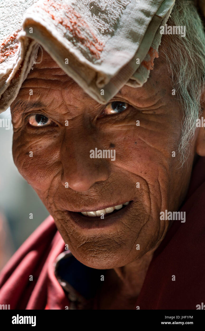 Portrait monk inside Tashilumpo Monastery at Shigatse, Tibet, China. - Stock Image