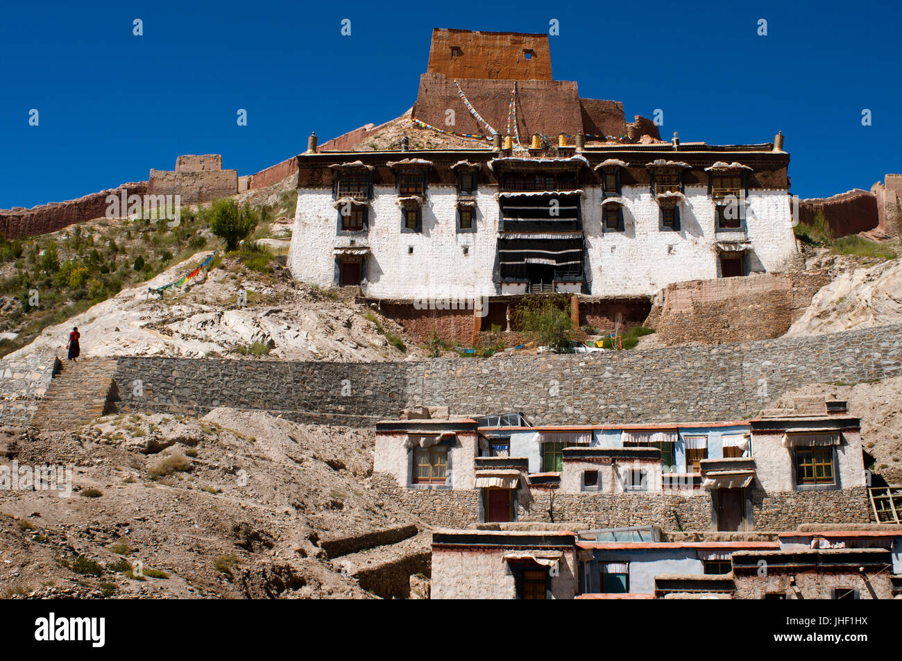 Houses of the Tibetan monks of the monastery of Pelkhor Chode, Gyantse, Tibet, China, Asia Stock Photo